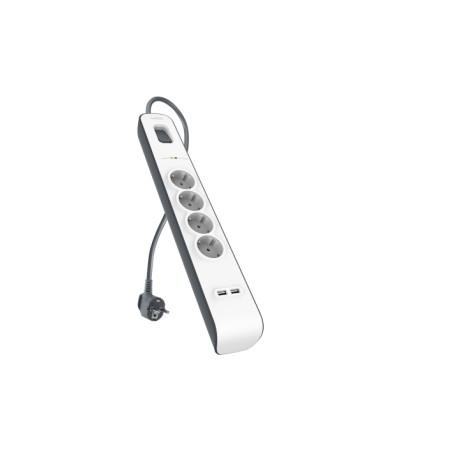 Belkin  - Multiprise/Parafoudre 4 Prises avec 2 Ports USB Intégrés - Cordon de 2m - Blanc (Protection jusqu'à 525 joules)