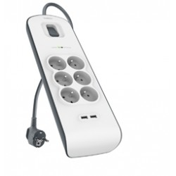 Parafoudre blanche & grise 6 prises, 650 Joules, 2 x USB 2.0 2,4A & cordon 2 mètres