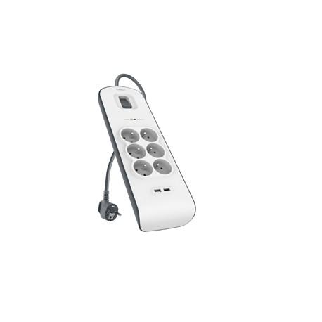 Belkin - Multiprise/Parafoudre 6 Prises avec 2 Ports USB Intégrés - Cordon de 2m - Blanc (Protection jusqu'à 650 joules)