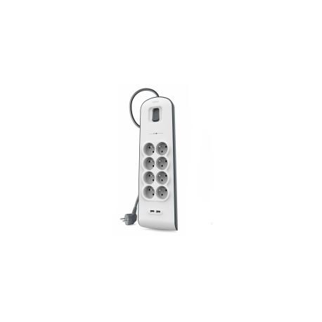 Belkin - Multiprise/Parafoudre 8 Prises avec 2 Ports USB - Cordon de 2m - Blanc (Protection jusqu'à 900 joules)