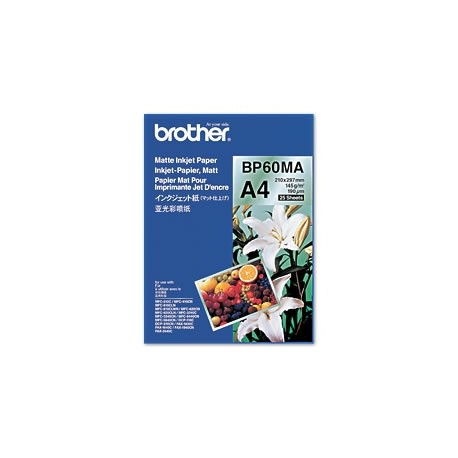 Brother BP60MA Matte Inkjet Paper - Mat - A4 (210 x 297 mm) - 145 g/m² - 25 feuille(s) papier - pour Brother DCP-J582, J982, T3