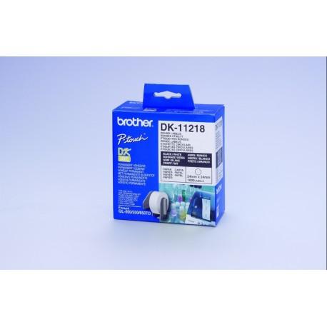 Brother DK-11218 - Noir sur blanc - Rouleau (2,4 cm) 1000 unités (1 rouleau(x) x 1000) étiquettes - pour Brother QL-1050, QL-10