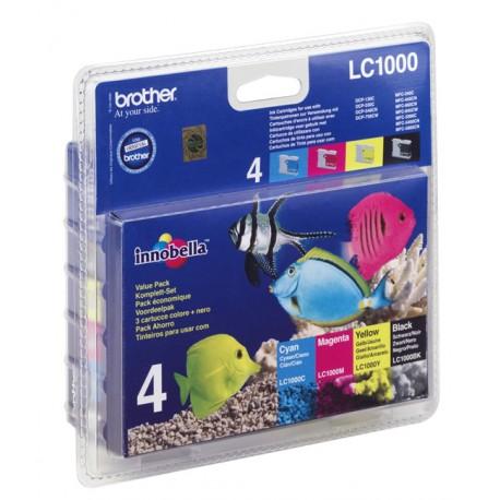 Brother LC1000 Value Pack - Pack de 4 - noir, jaune, cyan, magenta - originale - blister - cartouche d'encre - pour Brother DC