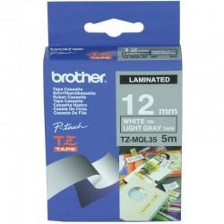 Brother TZeMQL35 - Mat - Blanc sur gris clair - Rouleau (1,2 cm x 5 m) 1 rouleau(x) ruban laminé - pour P-Touch pt-1005, PT-101