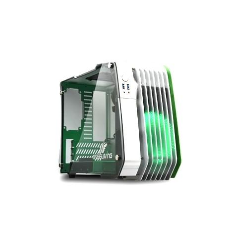 Enermax STEELWING ECB2010G - Mini-tour - micro ATX - pas d'alimentation (SFX12V) - vert - USB/Audio