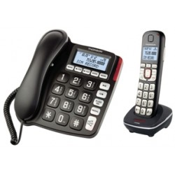Thomson Serea Combi - Filaire/sans fil - système de répondeur avec ID d'appelant - DECTGAP - noir + combiné supplémentaire