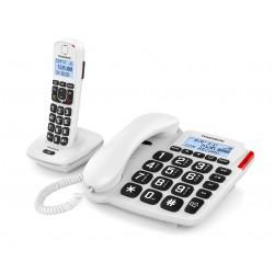 Thomson Serea Comby - Téléphone filaire - système de répondeur - DECTGAP - blanc + combiné supplémentaire