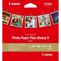 Canon Photo Paper Plus Glossy II PP-201 - Haute-brillance - 270 microns - 130 x 130 mm - 265 g/m² - 20 feuille(s) papier photo