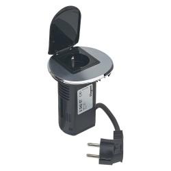 Legrand - Module de bureau encastré Programme Mosaic - 1 prise 2P+T / chargeur USB - métal