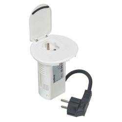C2G Power Desk Grommet - Adaptateur pour prise d'alimentation - bipolaire (F) pour alimentation (M) - 2 m - blanc - France