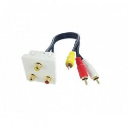 Plastron 45x45 Audio/vid RCA 3xFF-0,2m