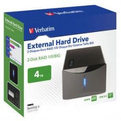 Verbatim 2-Disk RAID External Hard Drive - Baie de disques - 4 To - 2 Baies (SATA-300) - HDD 2 To x 2 - USB 2.0, SATA 3Gb/s (ex