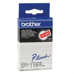 Brother TC495 - 9 mm x 7.7 m - blanc sur rouge - ruban laminé - pour P-Touch PT-2000, PT-3000, PT-500, PT-5000, PT-8E