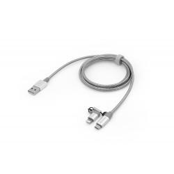 Verbatim Sync & Charge - Câble Lightning - Lightning, Micro-USB Type B (M) pour USB (M) - 1 m - argent