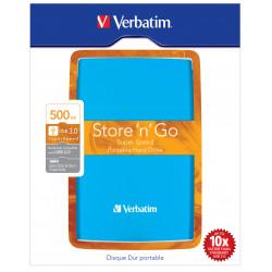 Verbatim Store 'n' Go Portable - Disque dur - 500 Go - externe (portable) - USB 3.0 - 5400 tours/min - bleu des Caraïbes