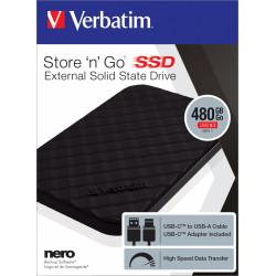 Verbatim Store 'n' Go Portable - Disque SSD - 480 Go - externe (portable) - USB 3.1 Gen 1 (USB-C connecteur)