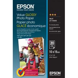 Epson Value - Brillant - 100 x 150 mm - 183 g/m² - 20 feuille(s) papier photo - pour Epson L382, L386, L486, Expression Home HD