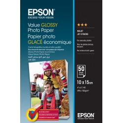 Epson Value - Brillant - 100 x 150 mm - 183 g/m² - 50 feuille(s) papier photo - pour Epson L382, L386, L486, Expression Home HD