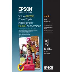 Epson Value - Brillant - 100 x 150 mm - 183 g/m² - 100 feuille(s) papier photo - pour Epson L382, L386, L486, Expression Home H