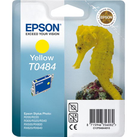 Epson T0484 - 13 ml - jaune - originale - blister - cartouche d'encre - pour Stylus DX3800, Stylus Photo R200, R220, R300, R32