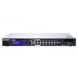 QNAP QGD-1600P - Commutateur - intelligent - 4 x 10/100/1000 (PoE++) + 10 x 10/100/1000 (PoE+) + 2 x combo Gigabit SFP (PoE+) -