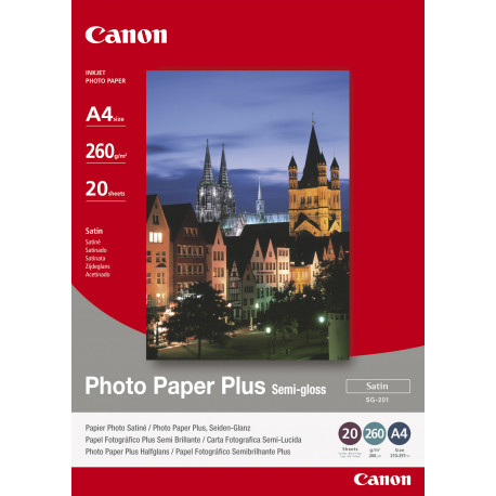 Canon Photo Paper Plus SG-201 - Semi-brillant - A4 (210 x 297 mm) - 260 g/m² - 20 feuille(s) papier photo - pour PIXMA iP3680,