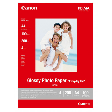 Canon GP-501 - Brillant - A4 (210 x 297 mm) - 200 g/m² - 100 feuille(s) papier photo - pour PIXMA iP5300, iP90, MG2555, mini260