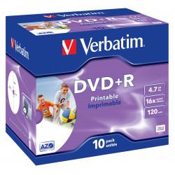 Verbatim datalifeplus - 10 x dvd+r 4.7 go 16x - surface imprimable par jet d`encre - boîtier cd - support de stockage