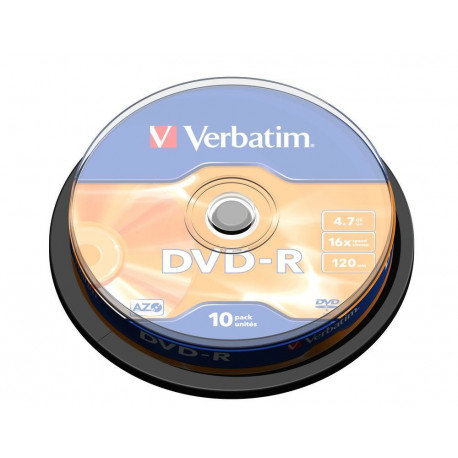 Verbatim - 10 x dvd-r 4.7 go 16x - argent mat - spindle - support de stockage
