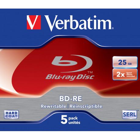 Verbatim BD-RE SINGLE LAYER 2X 25GB WHITE BLUE SURFACE HARD COAT - Jewel Case - Pack de 5