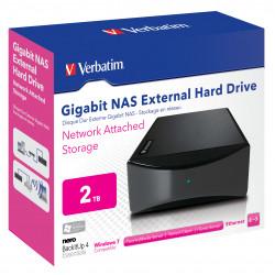 Verbatim Gigabit NAS - Serveur NAS - 2 To - HDD 2 To x 1 - USB 2.0 / Gigabit Ethernet