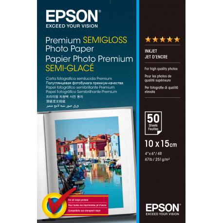 Epson Premium Semigloss Photo Paper - Semi-brillant - 100 x 150 mm - 251 g/m² - 50 feuille(s) papier photo - pour EcoTank ET-27