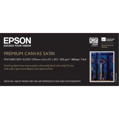 Epson premierart water resistant canvas - papier - toile coton couchee brillante resistante a l`eau - rouleau (33 cm x 6,1 m) -