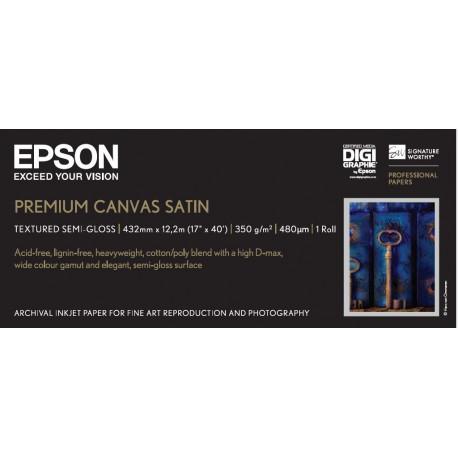 Epson premierart water resistant canvas - papier - toile coton couchee brillante resistante a l`eau - rouleau (43,2 cm x 12,2 m