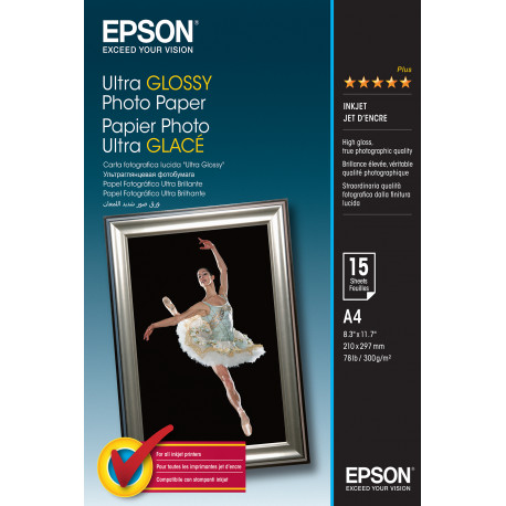 Epson Ultra Glossy Photo Paper - Brillant - A4 (210 x 297 mm) 15 feuille(s) papier photo - pour EcoTank ET-2710, 2711, 2712, 27
