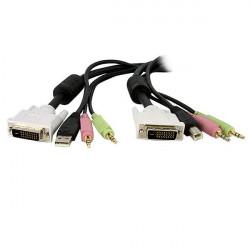 StarTech.com Câble de commutateur KVM DVI-D Dual Link USB 4 en 1 de 3m avec audio et microphone - Câble clavier/vidéo/souris/au