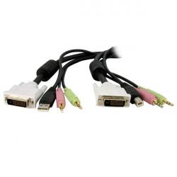 StarTech.com Câble de commutateur KVM DVI-D Dual Link USB 4 en 1 de 1,8 m avec audio et microphone - Câble clavier/vidéo/souris