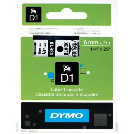 Ruban DYMO DYMO D1 6mmX7m Noir&Transp