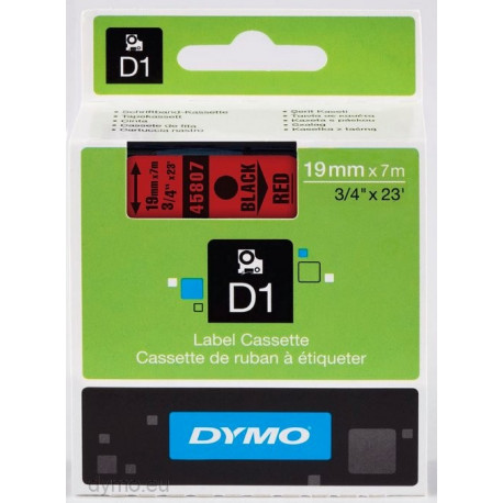 Ruban DYMO DYMO D1 19mmX7m Noir&Rouge