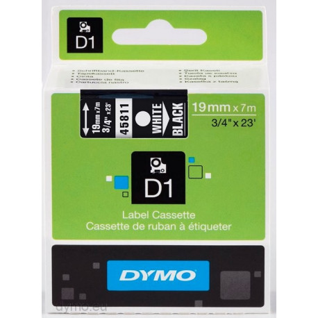 Ruban DYMO DYMO D1 19mmX7m Noir&Blanc (écriture blanche sur ruban noir)