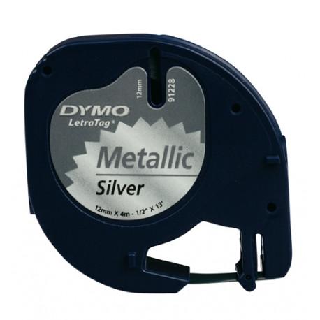 Ruban DYMO LETRATAG 12 X4m Metal Noir&Arg