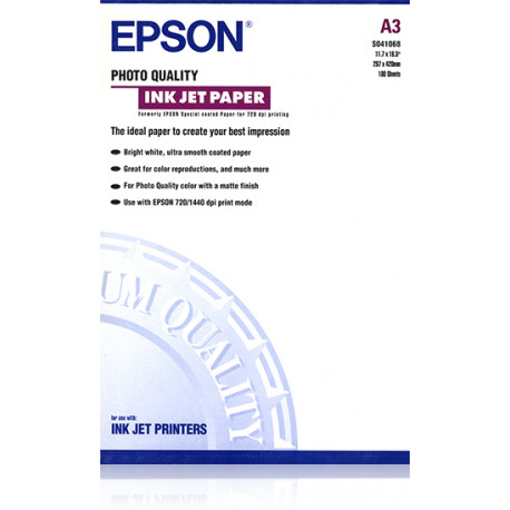 Epson photo quality - papier - papier couche mat - a3 (297 x 420 mm) - 102 g/m2 - 100 pc.