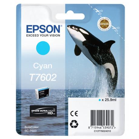 Epson T7602 - 26 ml - cyan - original - blister - cartouche d'encre - pour SureColor P600, SC-P600