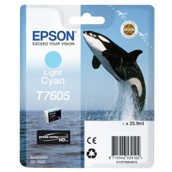 Epson T7605 - 26 ml - cyan clair - original - blister - cartouche d'encre - pour SureColor P600, SC-P600