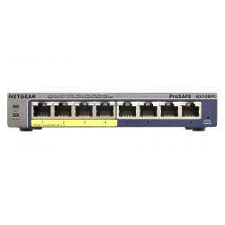 NETGEAR Plus GS108PEv3 - Commutateur - Géré - 4 x 10/100/1000 (PoE) + 4 x 10/100/1000 - de bureau, fixation murale - PoE