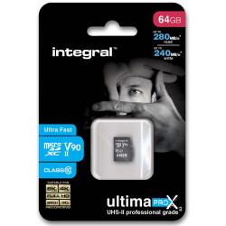 Integral UltimaPro X2 - Carte mémoire flash (adaptateur microSDXC vers SD inclus(e)) - 64 Go - Video Class V90 / UHS-II - micro