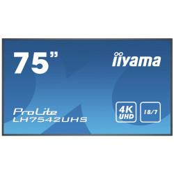 """iiyama ProLite LH7542UHS-B3 - Classe de diagonale 75"""" (74.5"""" visualisable) écran LCD rétro-éclairé par LED - signalisation nu"""