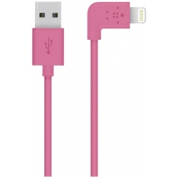 Belkin - Câble Lightning - Lightning (M) pour USB (M) - 1.22 m - rose - connecteur à 90° - pour Apple iPad/iPhone/iPod (Lightni
